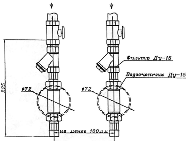 Схема установки счетчиков воды в квартире с размерами